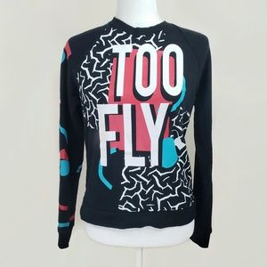 Mighty Fine Too Fly Graphic Sweatshirt Top Sz. M